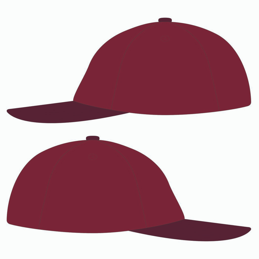 Sides of red baseball hat.