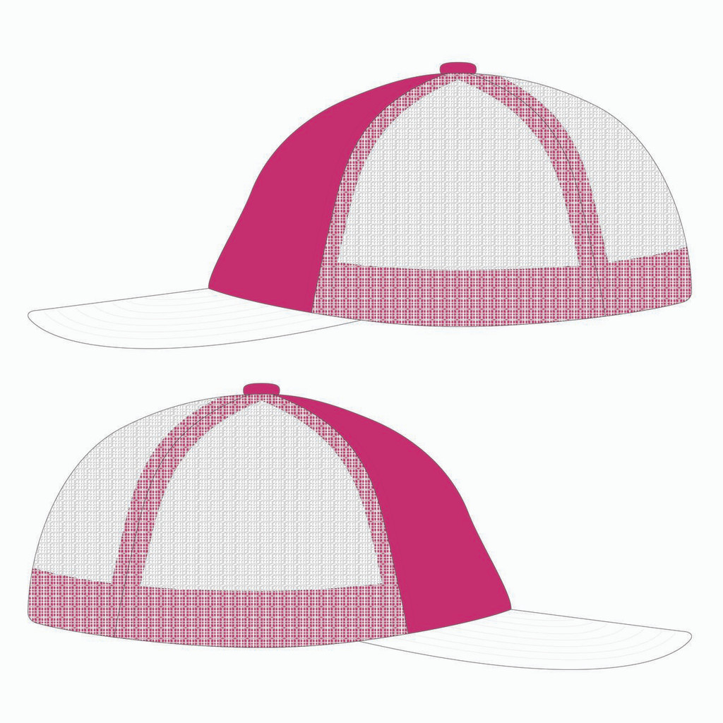 Side view of pink/white trucker hat.