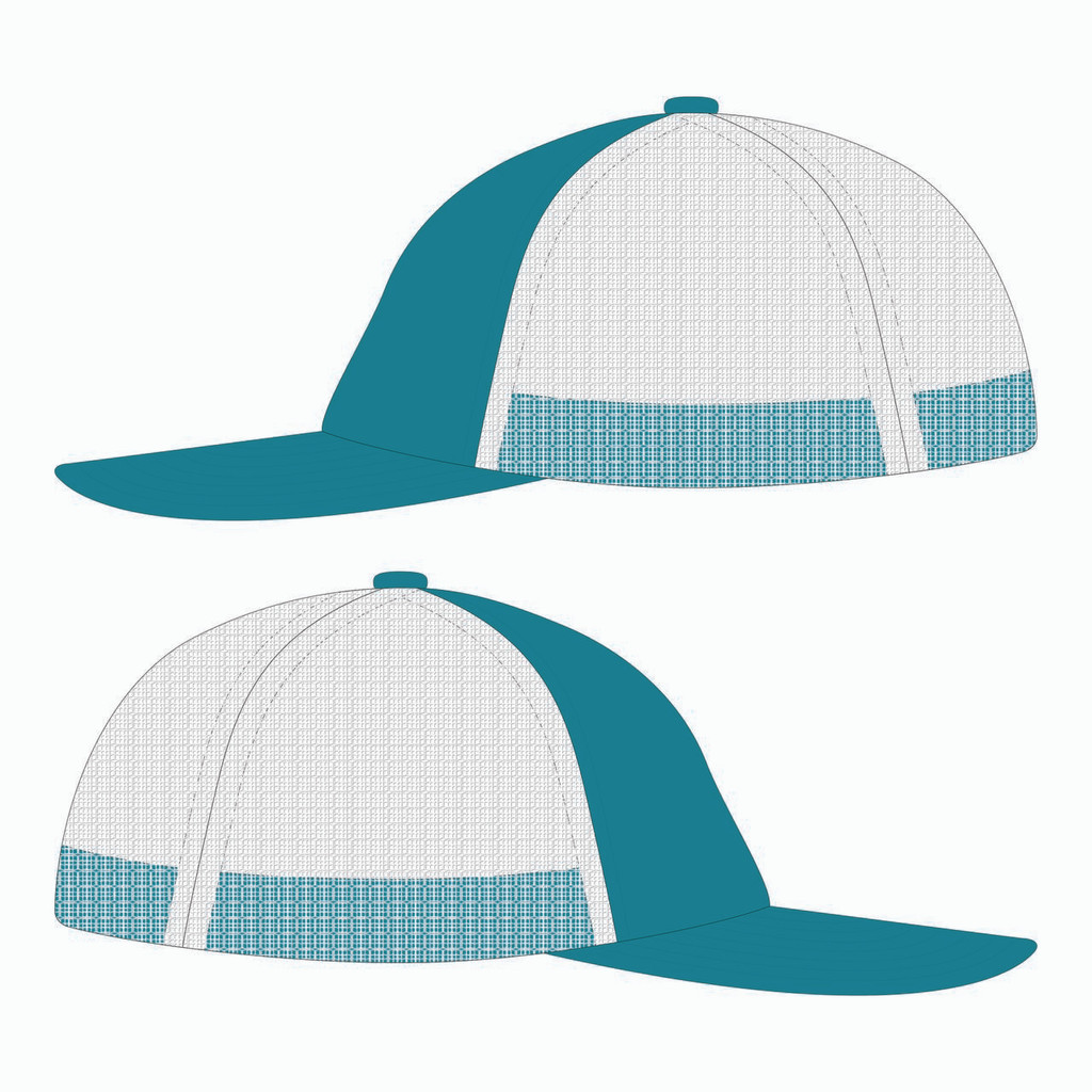 side view of teal/white trucker hat.