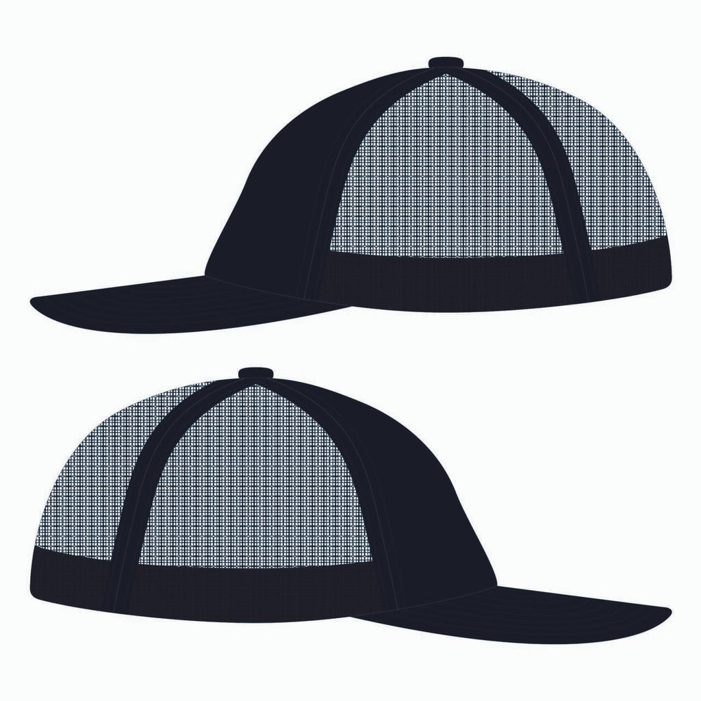 Side view of black trucker hat.