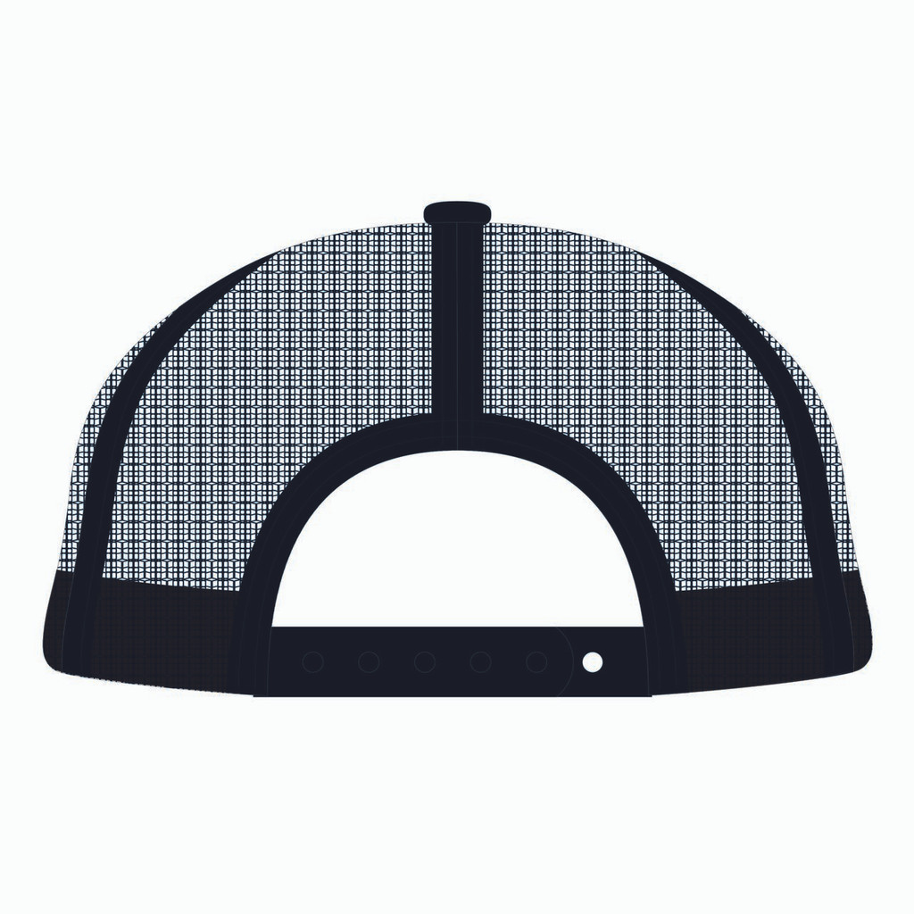 Back view of black trucker hat.