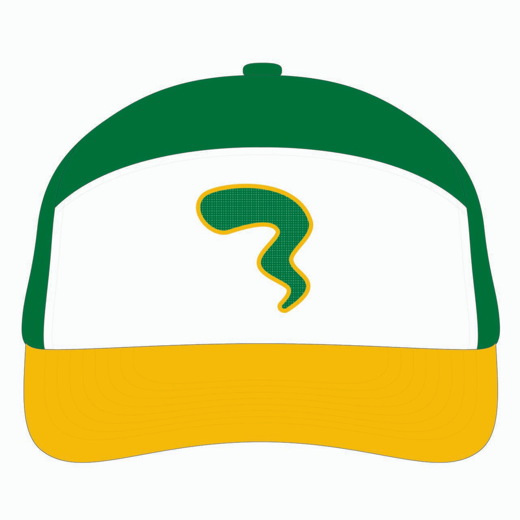 Front view of gold/white/green tradesman hat.