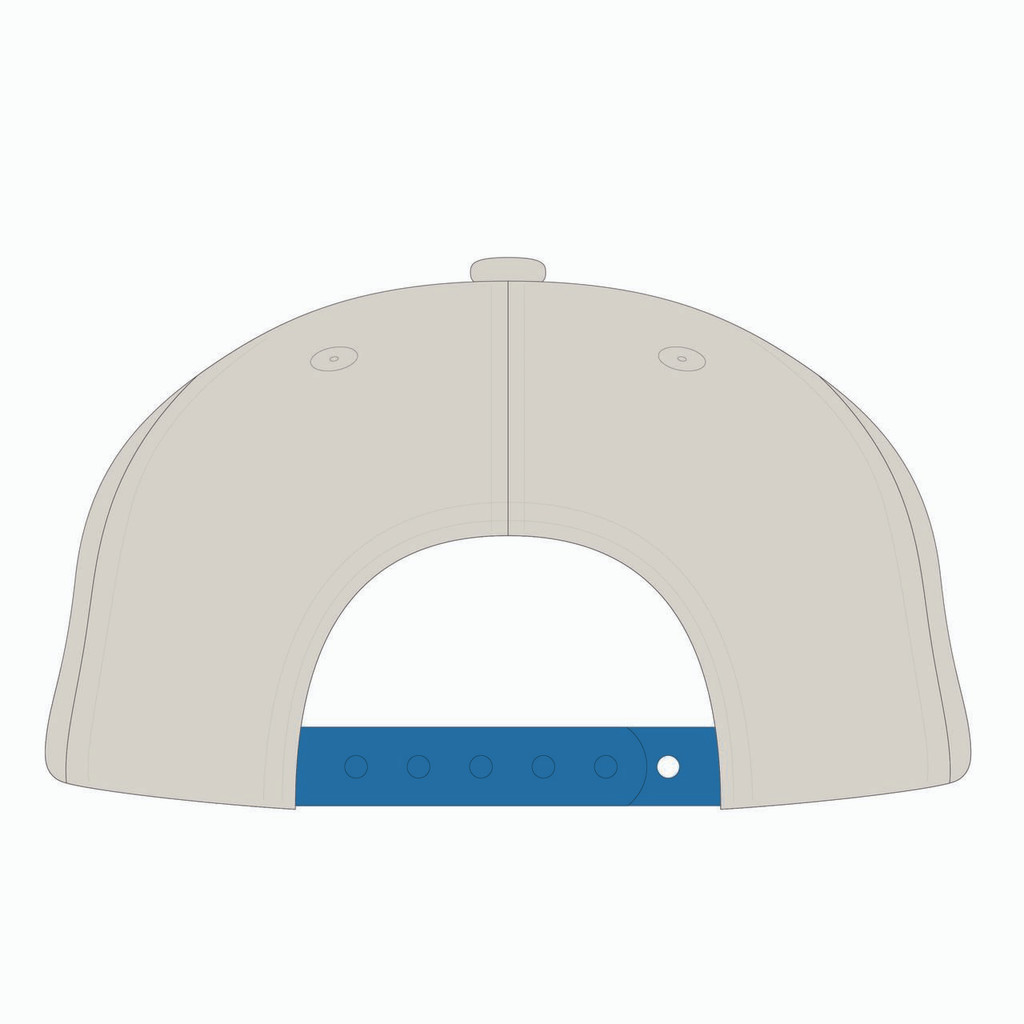 Back view of blue/gold/orange tradesman hat.