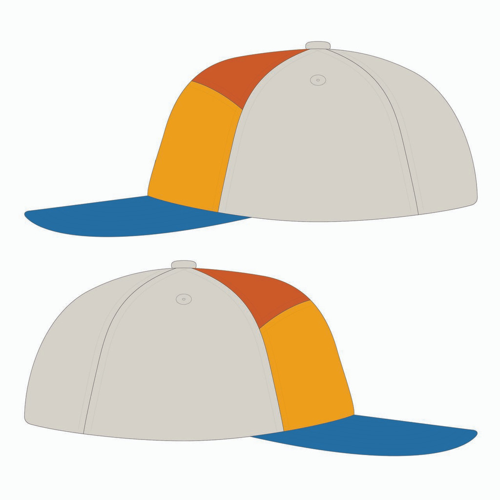 Side view of blue/gold/orange tradesman hat.