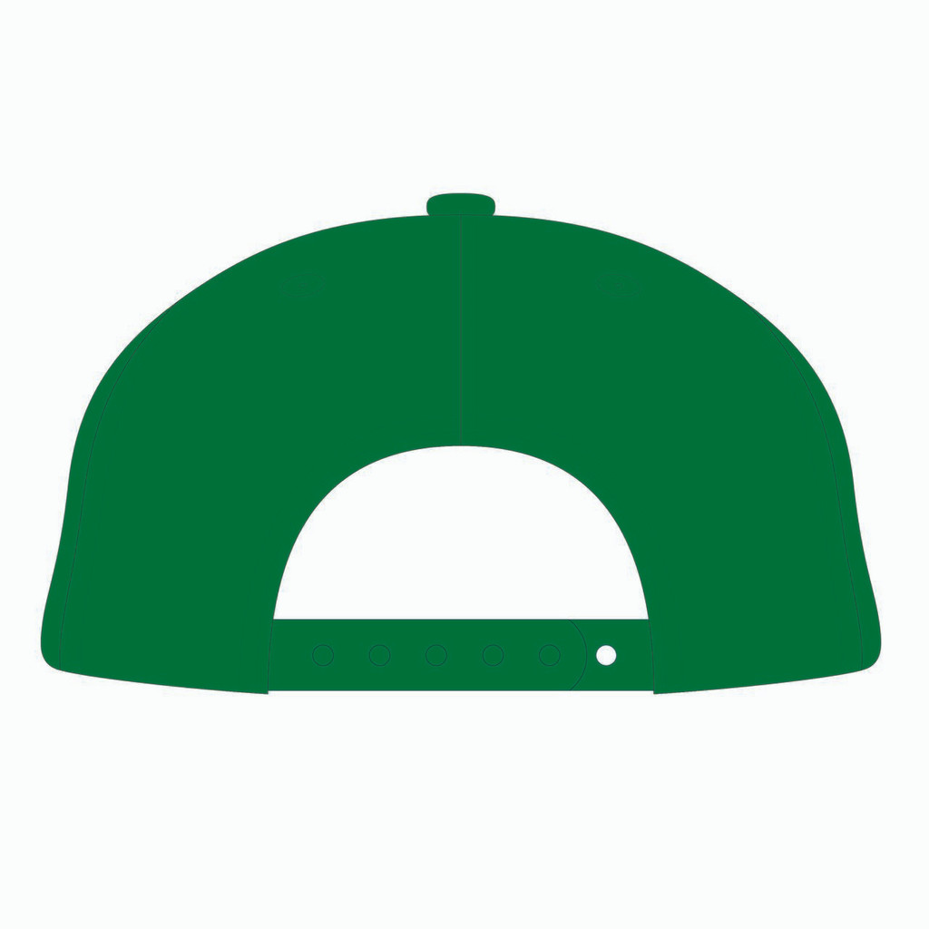 Back view of gold/white/green tradesman hat.