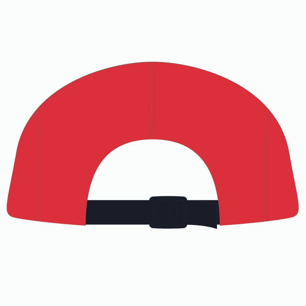 Back view of gold/red/red 5 panel lightweight hat.