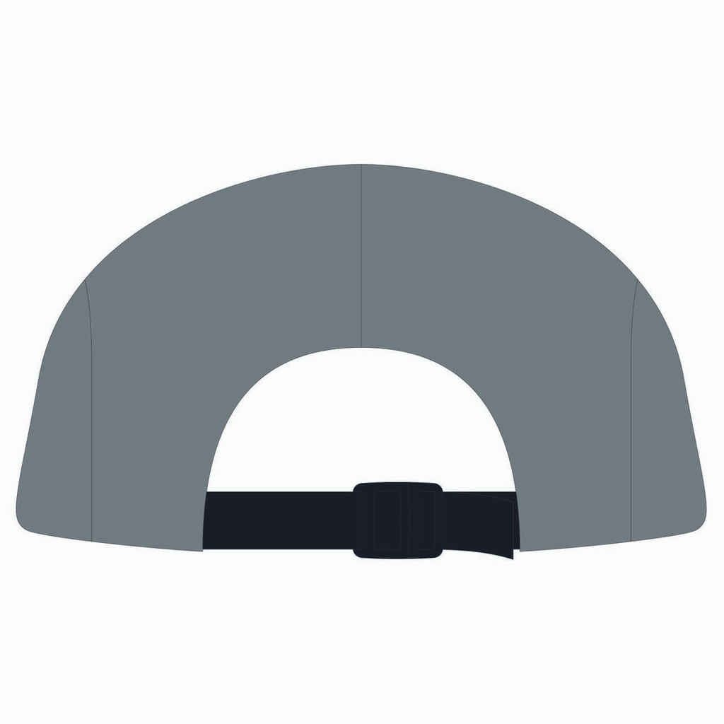 Back view of black/steel/steel 5 panel lightweight hat.