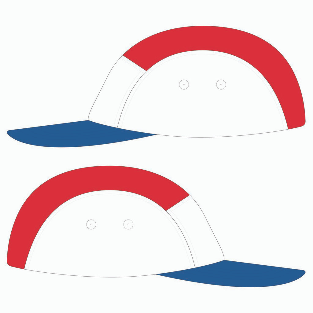 Side view of blue/white/red 5 panel lightweight hat.