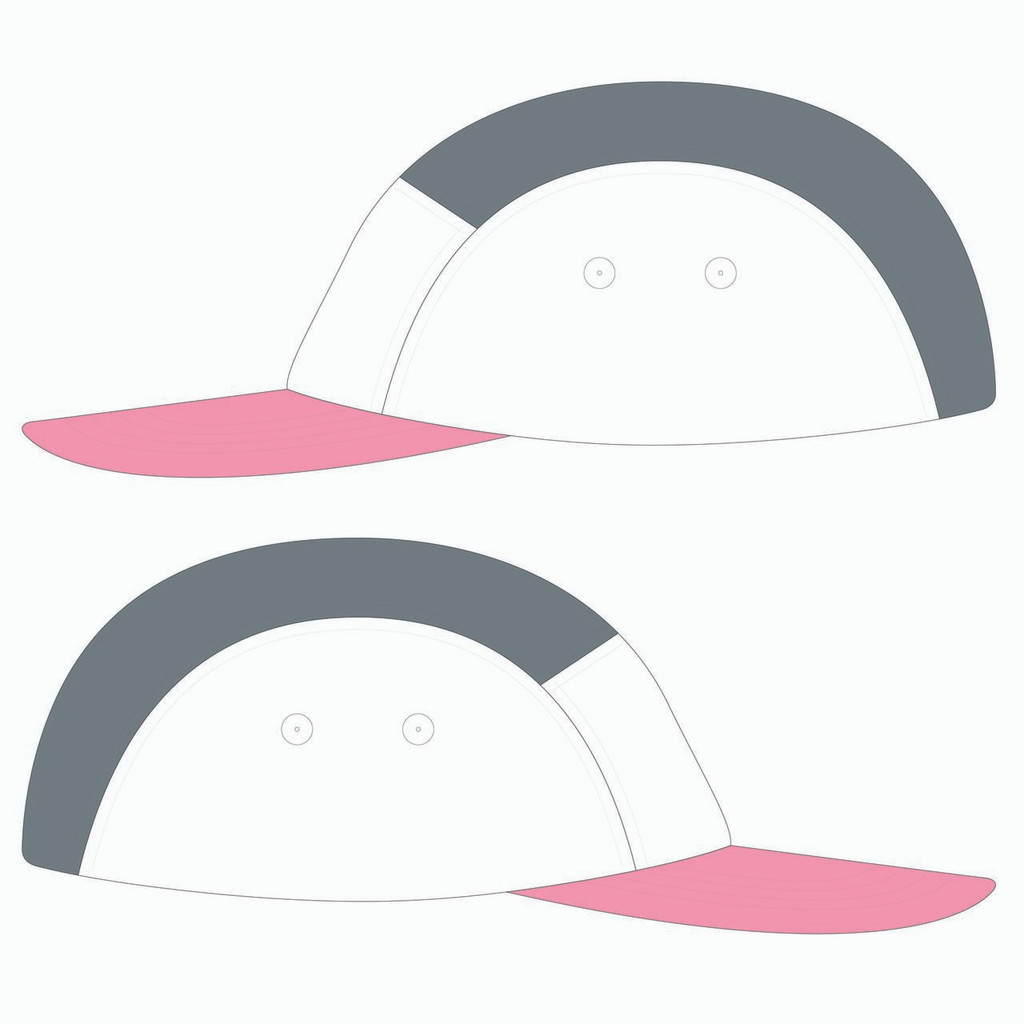 Side view of pink/white/metal 5 panel lightweight hat.