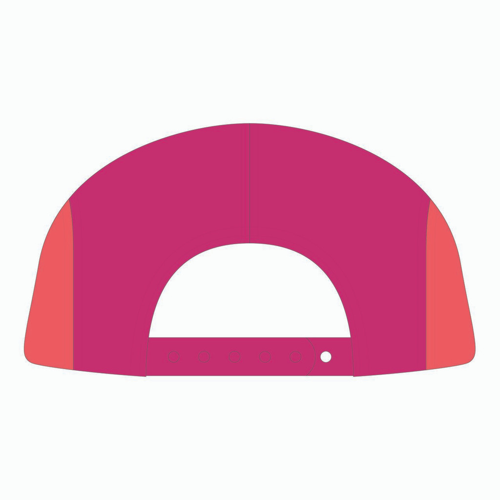 Back view of purple/fuschia/nantucket 5 panel sublimated underbrim hat