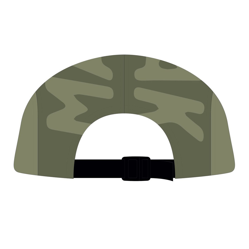 Back view of surplus/olive 5 panel top panel sublimated hat.