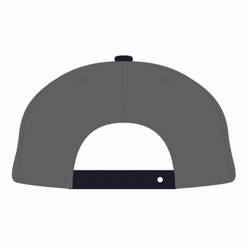 Back of grey baseball hat.