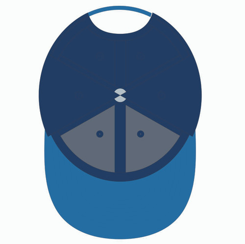 Underneath of blue baseball hat.