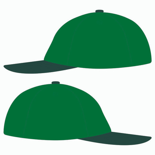 Sides of green baseball hat.