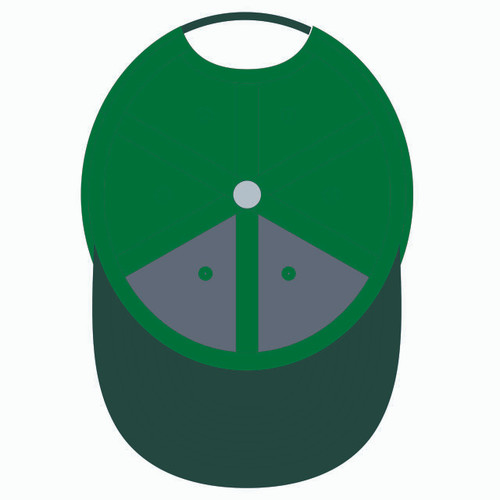 Underneath of green baseball hat.