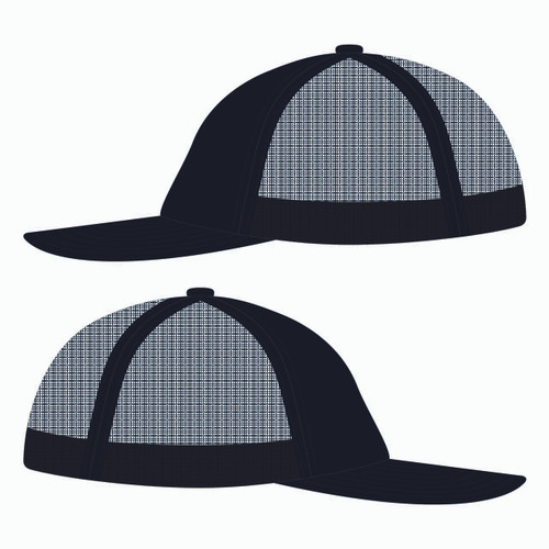 Side view of black trucker hat.