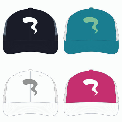 View of all four trucker hats