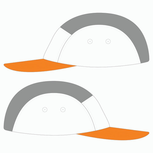 Side view of orange/white/steel 5 panel lightweight hat.