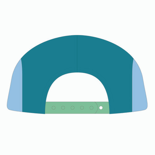 Back view of seafoam/teal/frost 5 panel sublimated underbrim hat