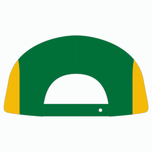 Back view of navy/green/gold 5 panel sublimated underbrim hat