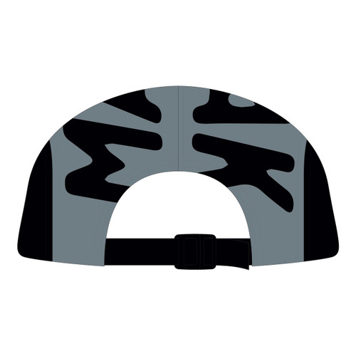 Back view of black/grey 5 panel top panel sublimated hat.