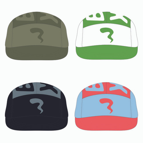 View of all four 5 panel top panel sublimated hats