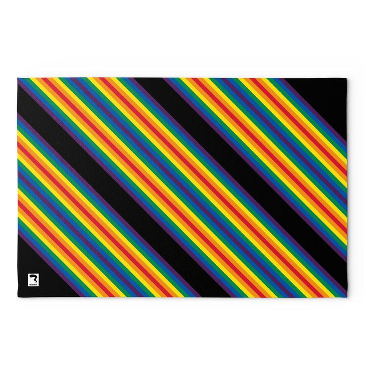 Rainbow Stripes Black Blanket