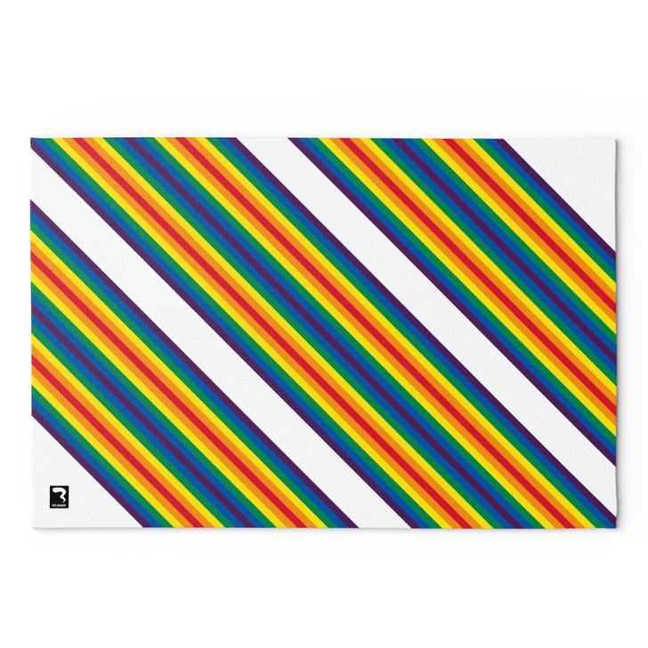 Rainbow Stripes White Blanket