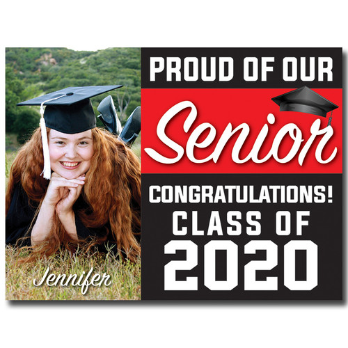 Generic or Homeschool High School Custom Graduation Yard Sign Red and Black