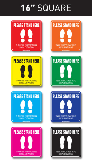"Social Distancing Floor Graphic - 16"" Square easy to apply floor graphic sticker available in multiple colors"
