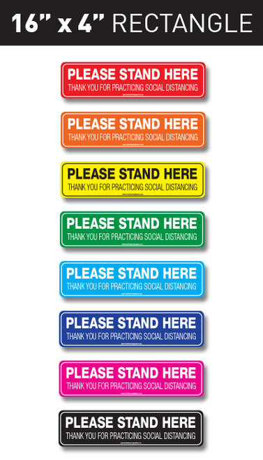 "Social Distancing Floor Graphic -  16"" x 4"" rectangle easy to apply floor graphic sticker available in multiple colors"
