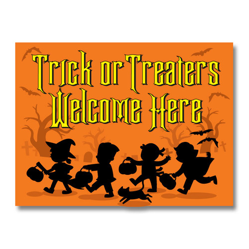 Halloween Trick or Treaters Welcome Yard Sign in Orange