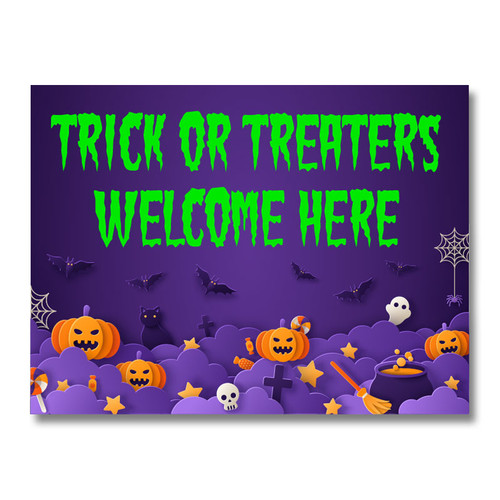 Halloween Trick or Treaters Welcome Yard Sign - Purple