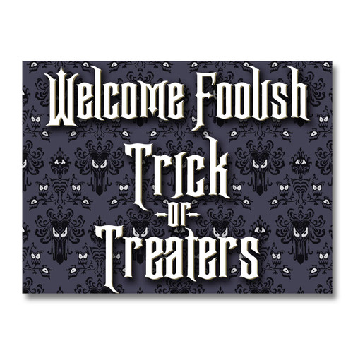 Halloween Trick or Treaters Welcome Yard Sign - Spooky Purple