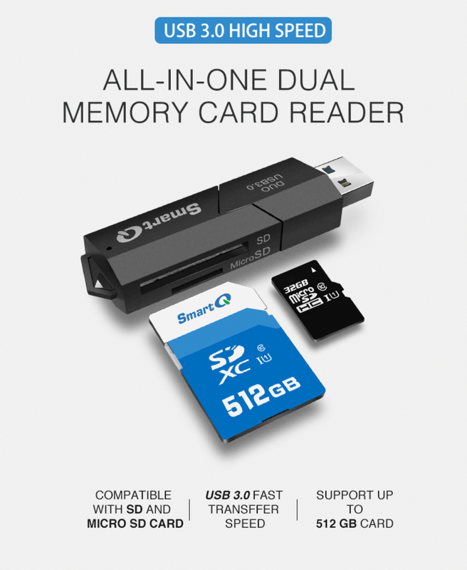 SmartQ C307 Duo SD Card Reader Portable USB 3.0 Flash Memory Card Adapter Hub for SD, Micro SD, SDXC, SDHC, MMC, Micro SDXC, Micro SDHC, UHS-I for Mac, Windows, Linux, Chrome, PC, Laptop, Switch, GoPro