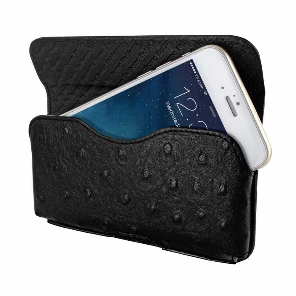Piel Frama iPhone 6 Plus / 6S Plus / 7 Plus / 8 Plus Horizontal Pouch Leather Case - Black Cowskin-Ostrich