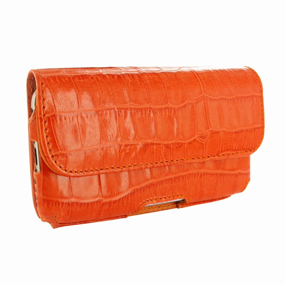 Piel Frama iPhone 6 Plus / 6S Plus / 7 Plus / 8 Plus Horizontal Pouch Leather Case - Orange Cowskin-Crocodile