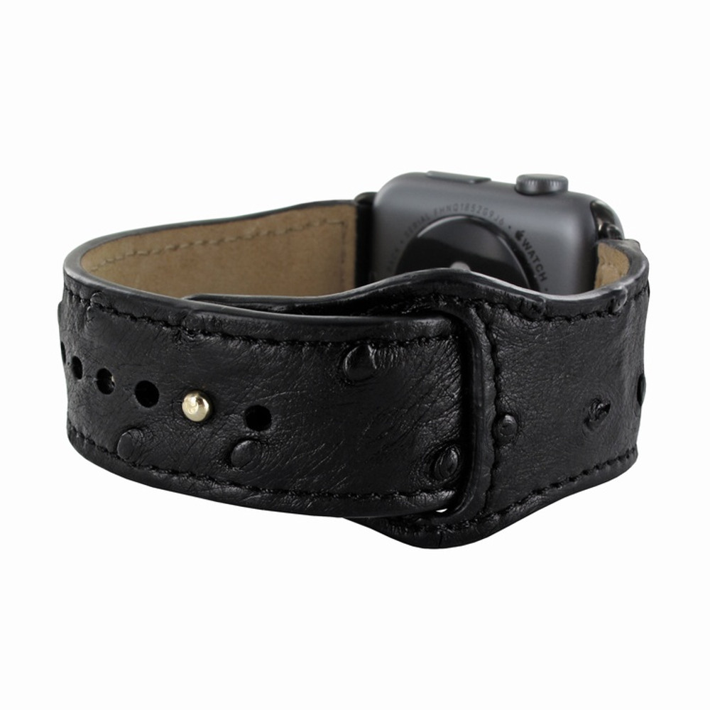Piel Frama Apple Watch 38 mm Leather Strap - Black Cowskin-Ostrich / Black Adapter