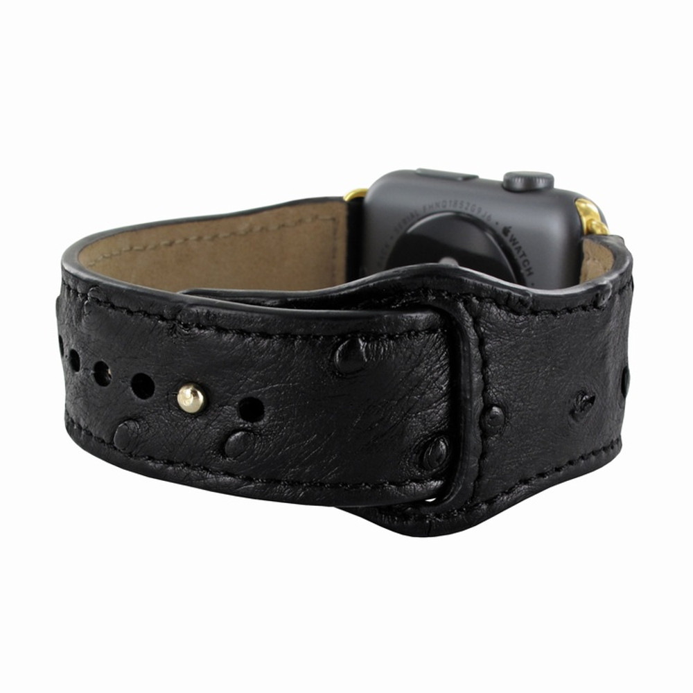 Piel Frama Apple Watch 38 mm Leather Strap - Black Cowskin-Ostrich / Gold Adapter