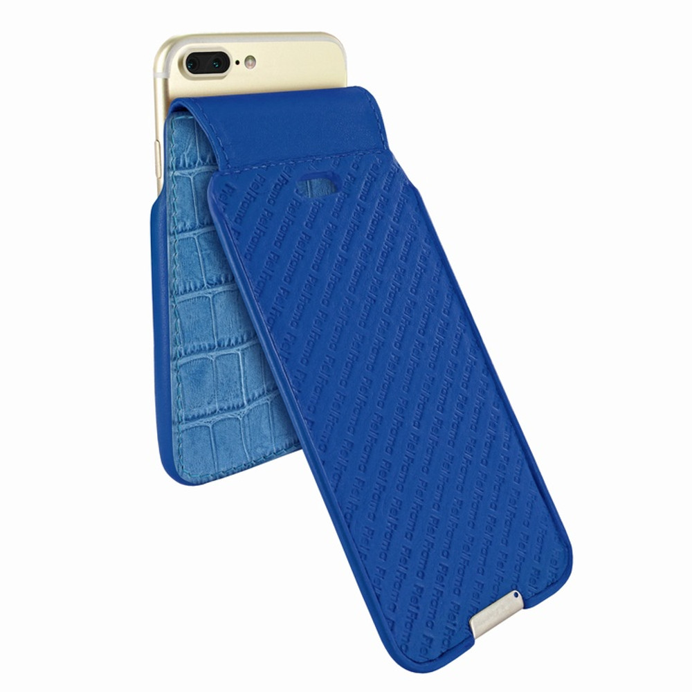 Piel Frama iPhone 6 Plus / 6S Plus / 7 Plus / 8 Plus UltraSliMagnum Leather Case - Blue Cowskin-Crocodile