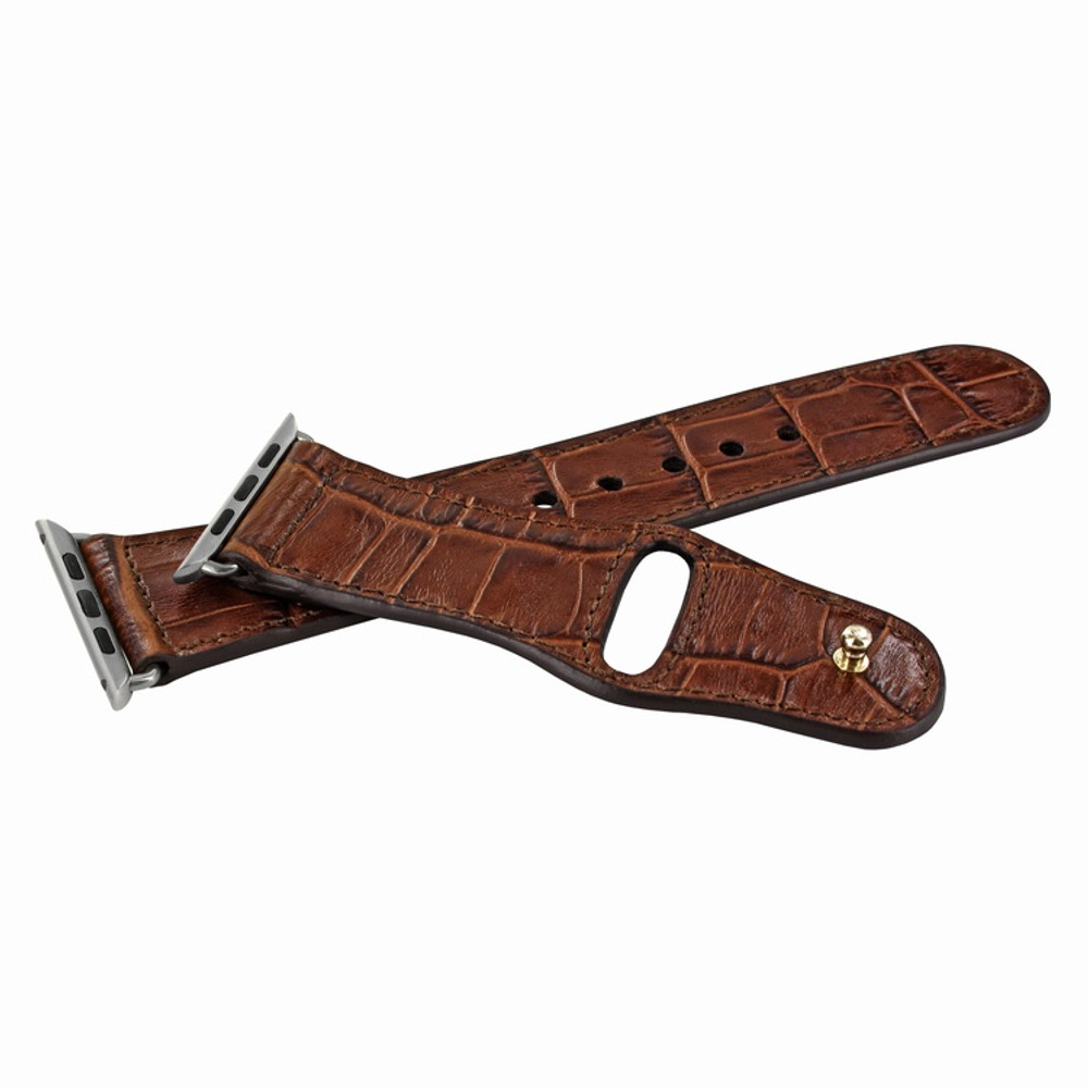 Piel Frama Apple Watch 38 mm Leather Strap - Brown Cowskin-Crocodile / Silver Adapter