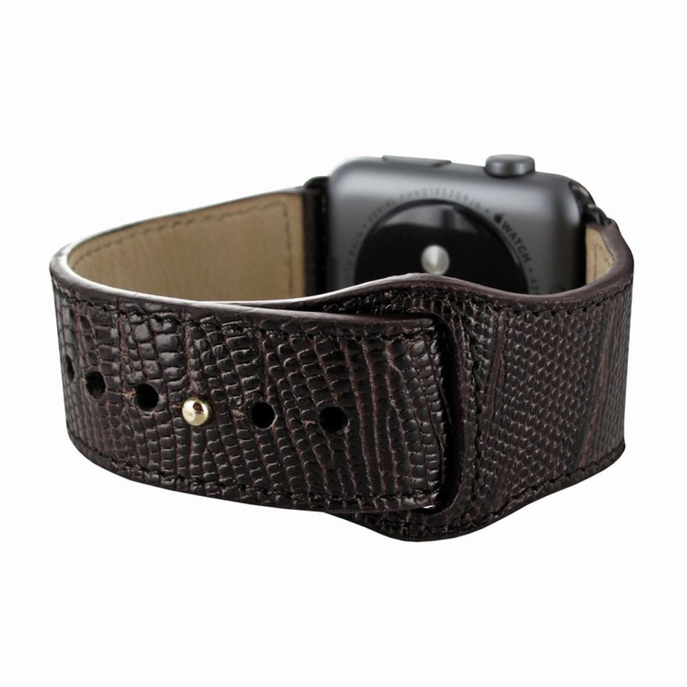 Piel Frama Apple Watch 38 mm Leather Strap - Brown Cowskin-Lizard / Black Adapter