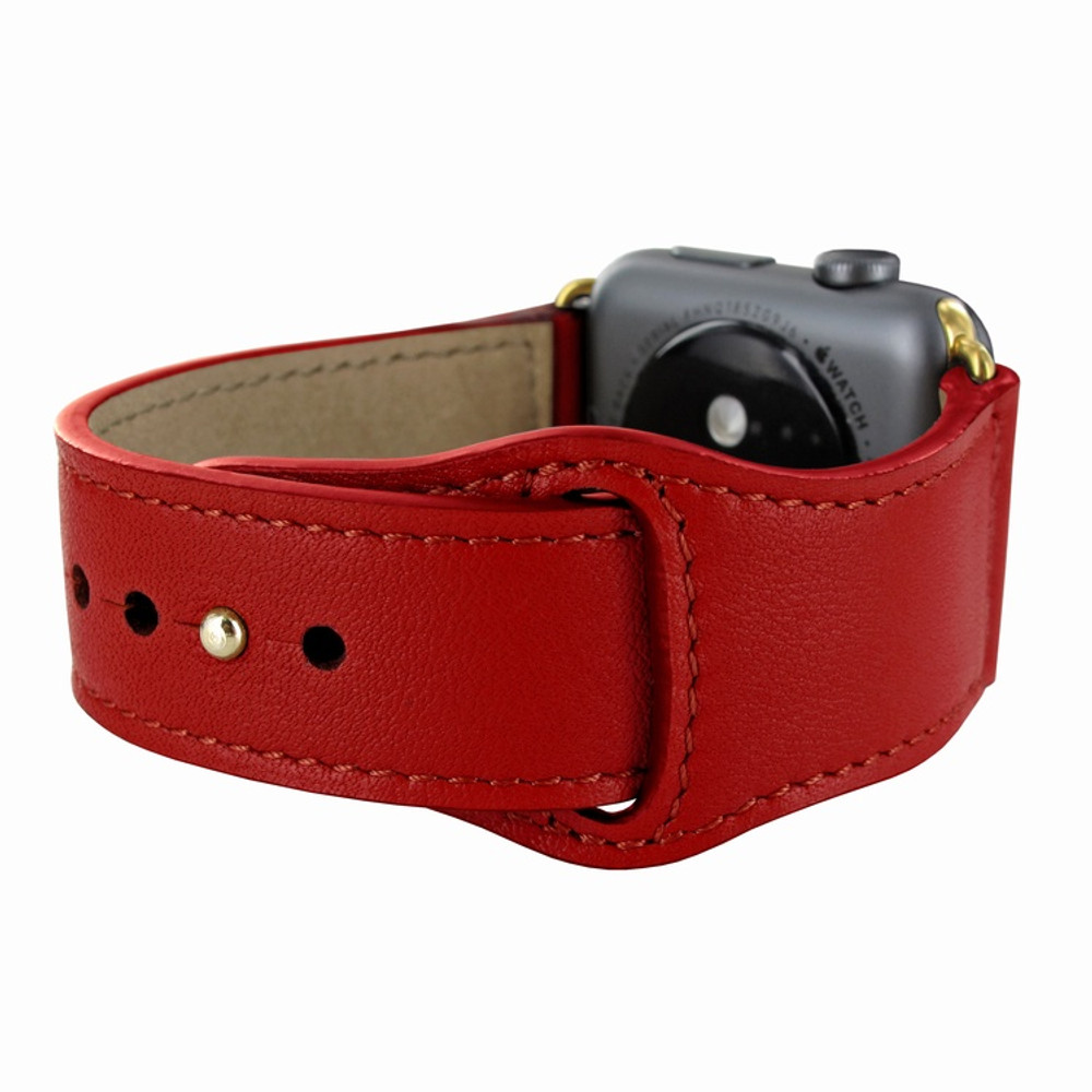 Piel Frama Apple Watch 38 mm Leather Strap - Red / Gold Adapter