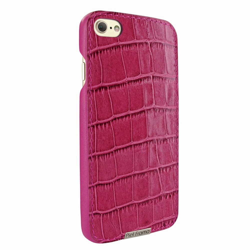 Piel Frama iPhone 7 / 8 FramaSlimGrip Leather Case - Fuchsia Cowskin-Crocodile
