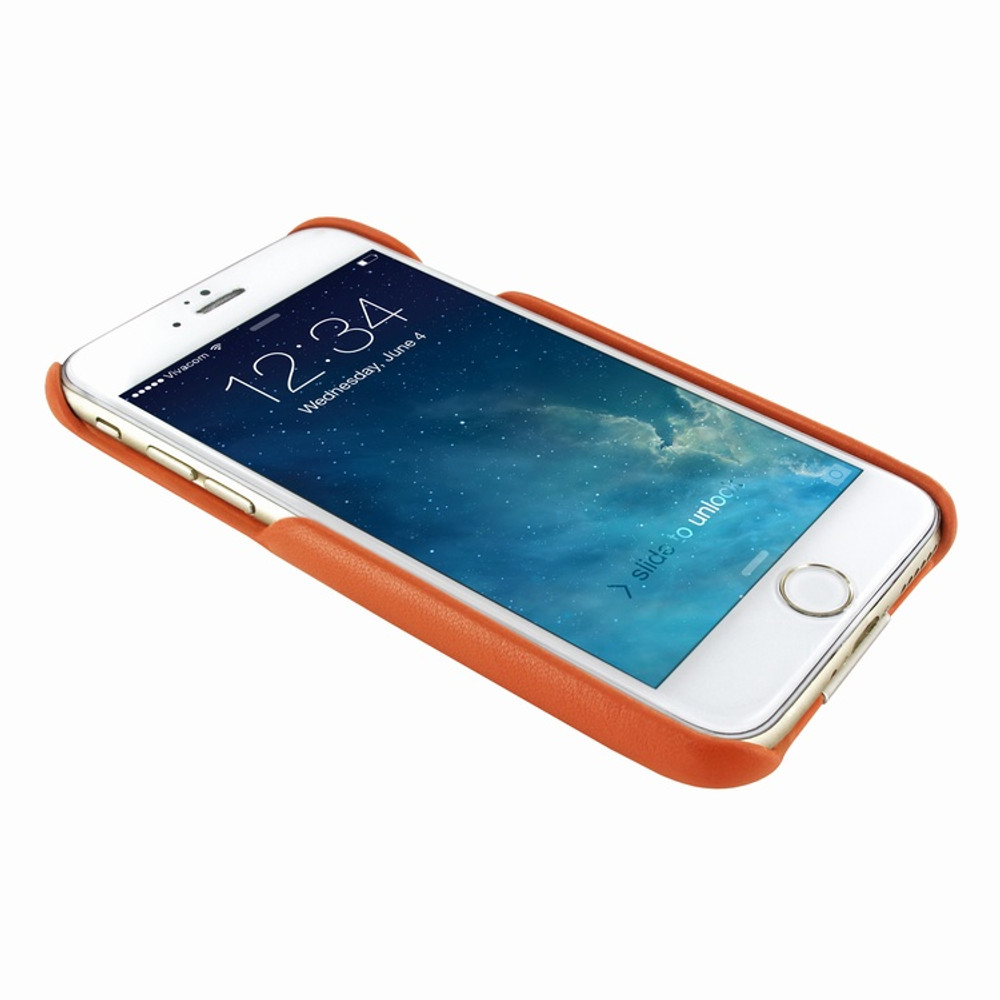 Piel Frama iPhone 7 / 8 FramaSlimGrip Leather Case - Orange Cowskin-Crocodile