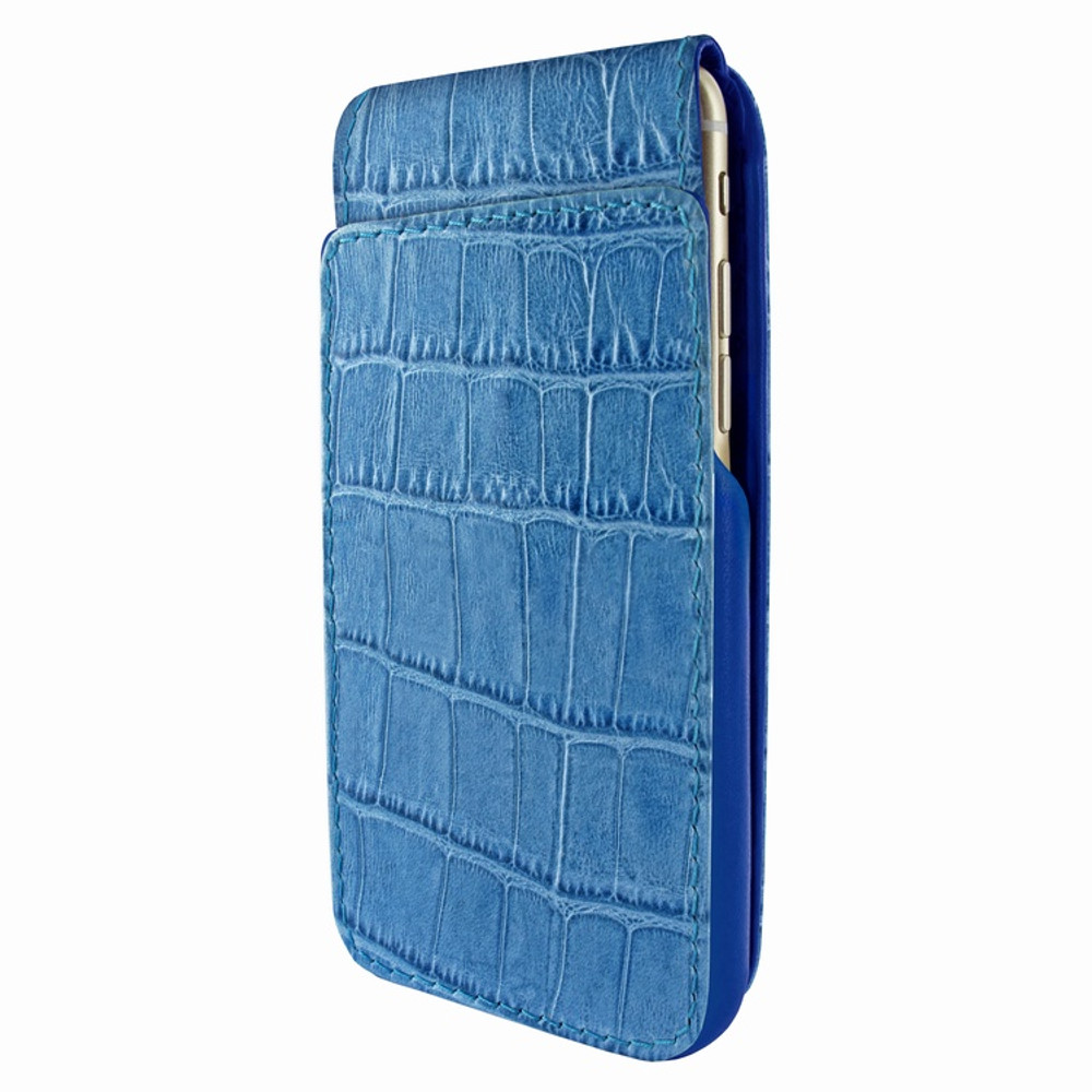 Piel Frama iPhone 7 / 8 iMagnumCards Leather Case - Blue Cowskin-Crocodile