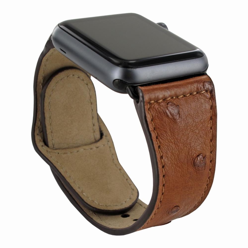 Piel Frama Apple Watch 38 mm Leather Strap - Tan Cowskin-Ostrich / Black Adapter