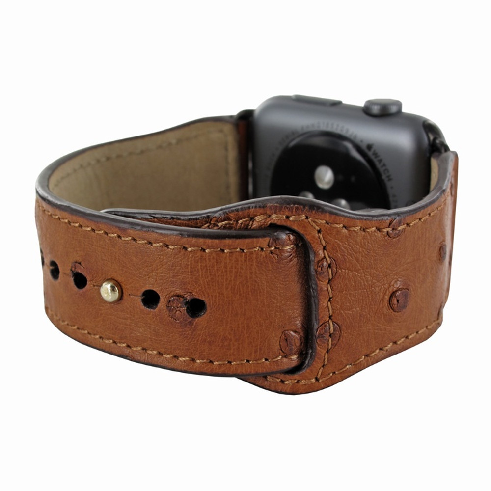 Piel Frama Apple Watch 38 mm Leather Strap - Tan Cowskin-Ostrich / Black Adapter
