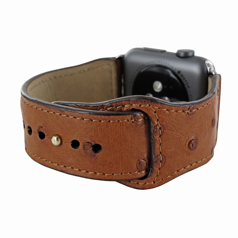 Piel Frama Apple Watch 38 mm Leather Strap - Tan Cowskin-Ostrich / Silver Adapter