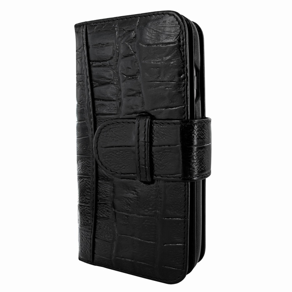 Piel Frama iPhone 7 / 8 WalletMagnum Leather Case - Black Wild Cowskin-Crocodile